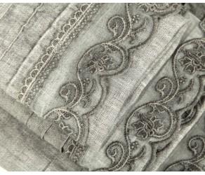 Набор льняных полотенец с узким кружевом