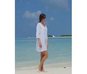Платье  льняное с отделкой кружевом Chez Moi арт. ACOSQP