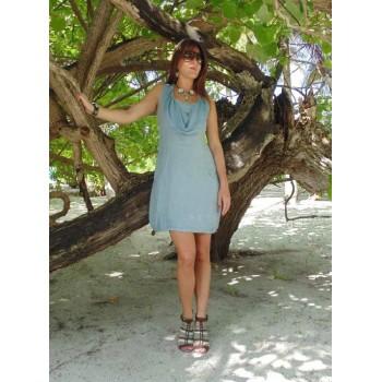 Платье  льняное с отделкой кружевом Chez Moi
