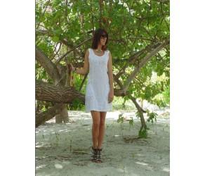 Платье  льняное с отделкой кружевом Chez Moi арт. ACPLPV