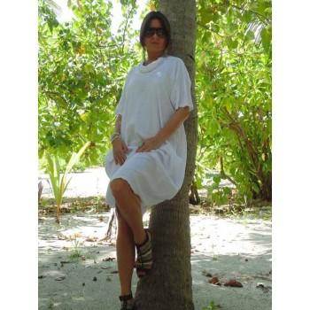 Платье с декольте из мягкого льна Chez Moi