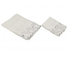 Набор из 2-х полотенец льняных с кружевом